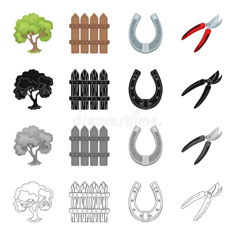 Owocowy drzewo, drewniany ogrodzenie, podkowa, gospodarstw rolnych narzędziowi secateurs Rolnego i jarzynowego ogródu ustalone in ilustracja wektor