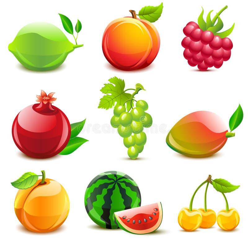owocowy glansowany set royalty ilustracja