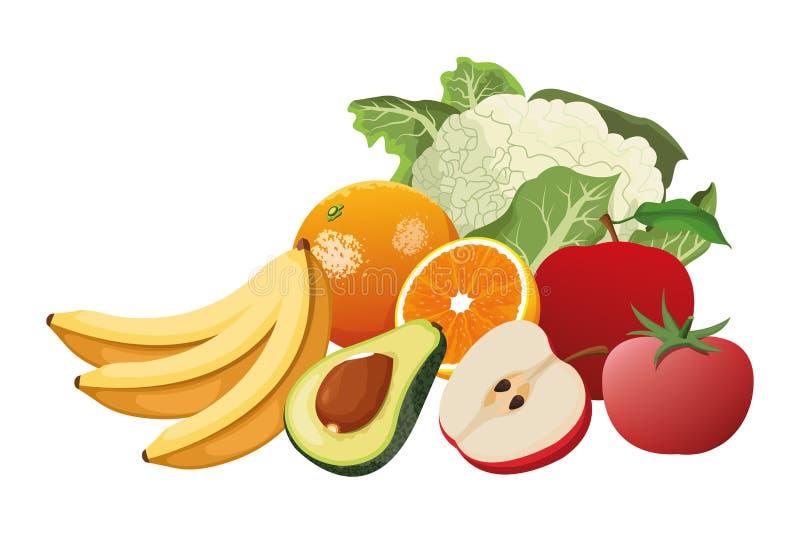 Owocowy i warzywa ilustracja wektor