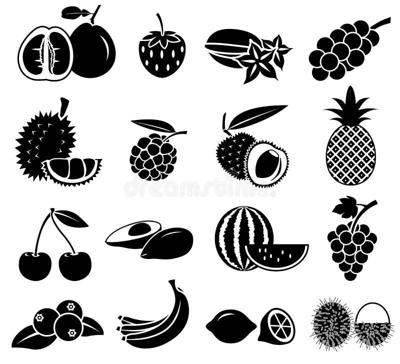 Owocowy ikona wektor ustawia 02 royalty ilustracja