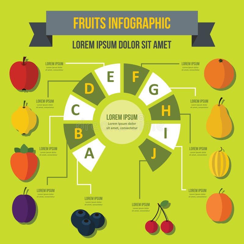 Owocowy infographic pojęcie, mieszkanie styl ilustracji