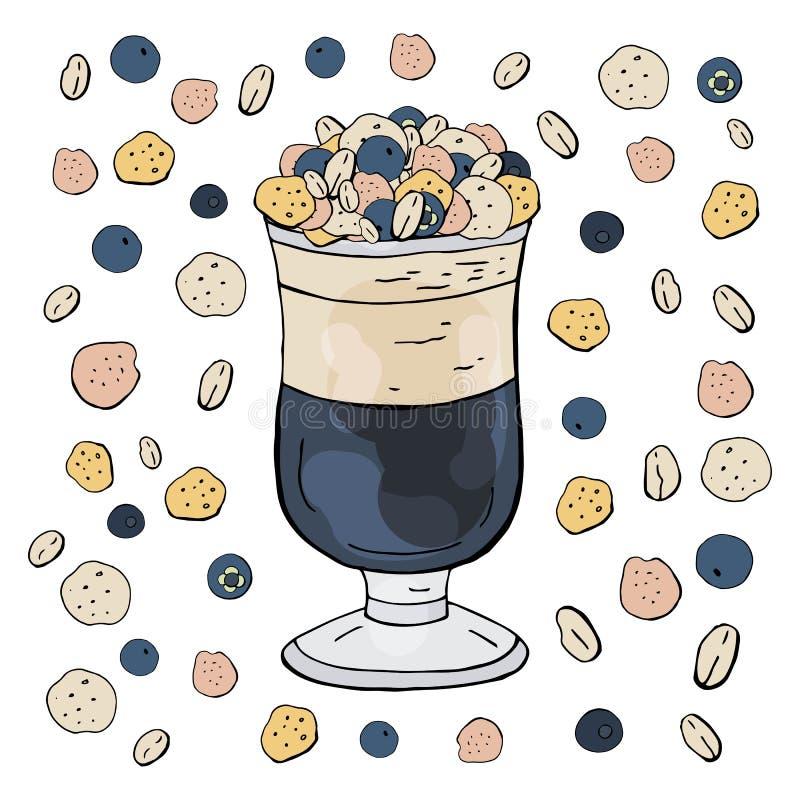Owocowy koktajl z czarną jagodą i muesli odizolowywający na białym tle owocowi lat smoothies ilustracji