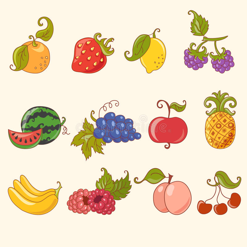 owocowy kreskówka set ilustracja wektor