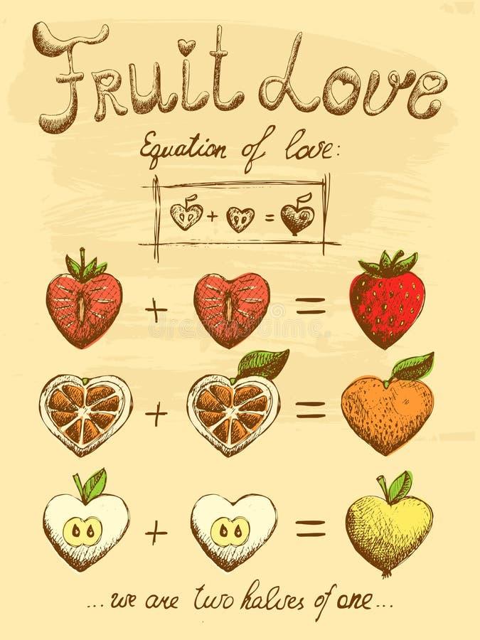Owocowy miłości formuły rocznika plakat royalty ilustracja