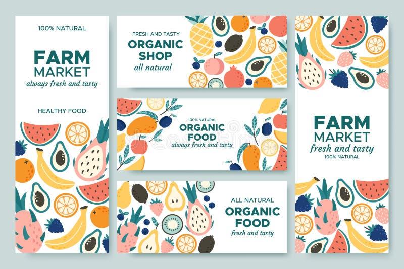 Owocowy sztandar Lato owoc, żywność organiczna menu i świeżych ananasowych sztandarów ilustracji wektorowy set, ilustracji