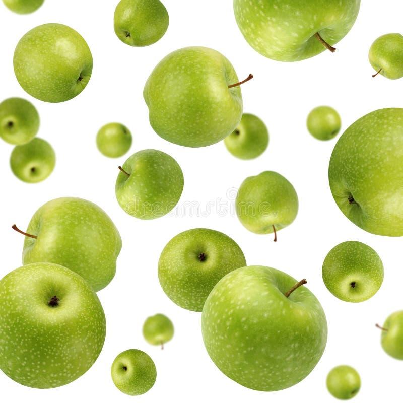 Owocowy tło z zielonymi jabłkami Selekcyjna ostrość fotografia royalty free