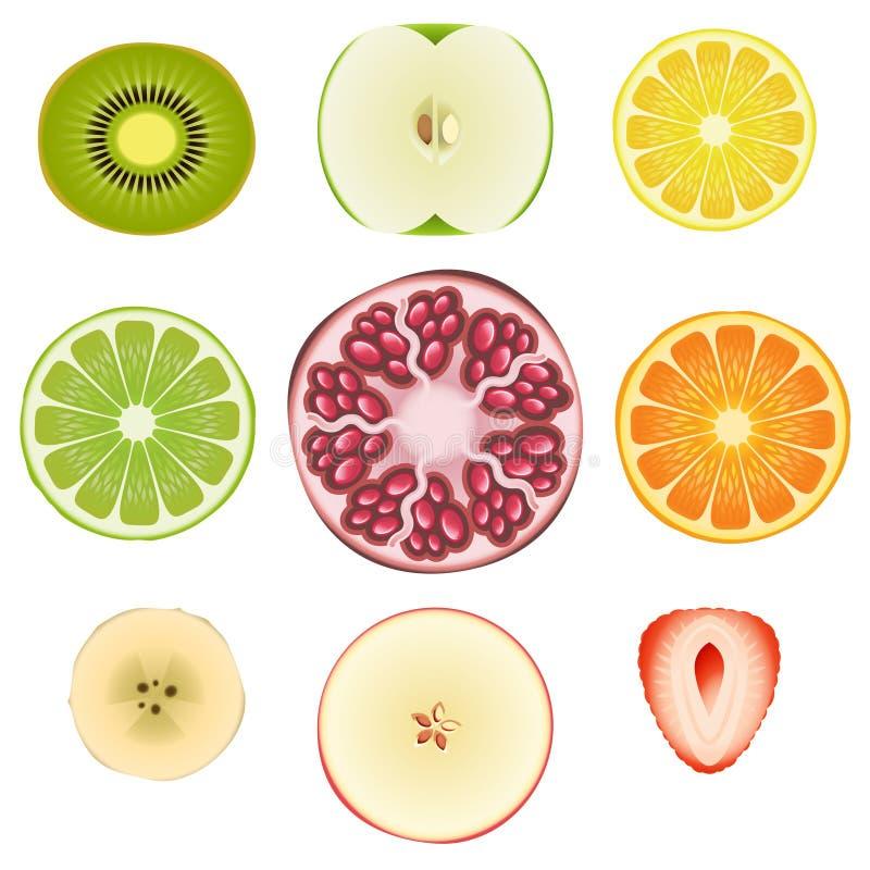 owocowy ustalony plasterek ilustracja wektor