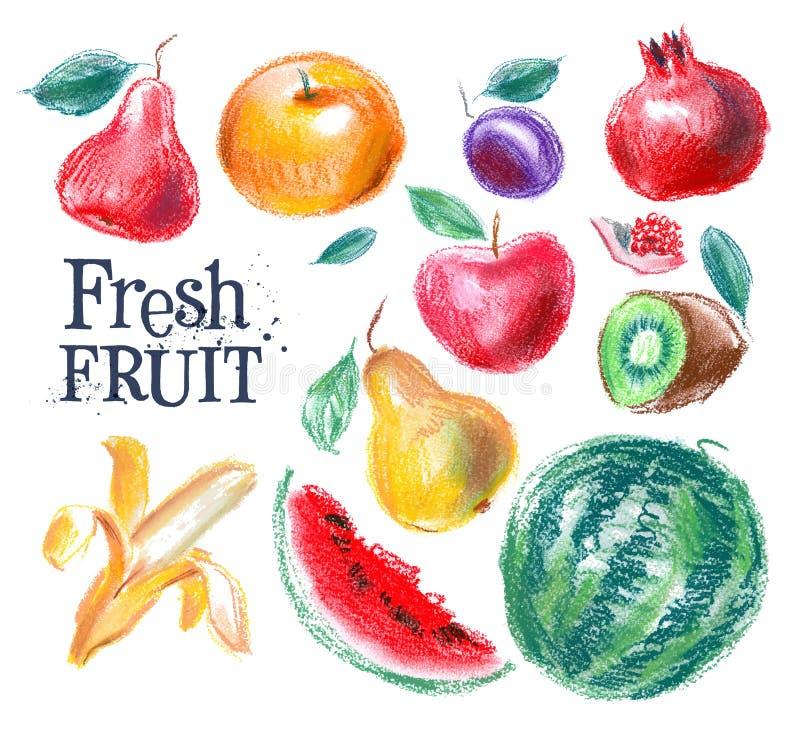 Owocowy wektorowy loga projekta szablon świeża żywność lub ilustracji