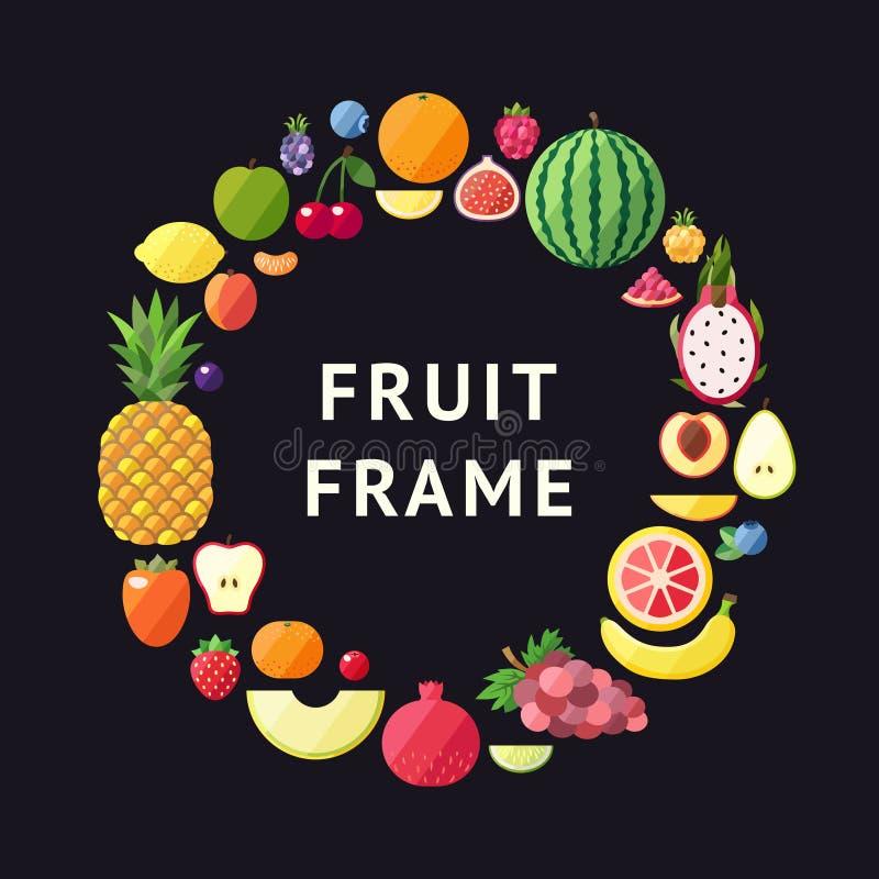 Owocowy wektorowy okrąg ramy tło Nowożytny płaski projekt zdrowy tła jedzenie royalty ilustracja