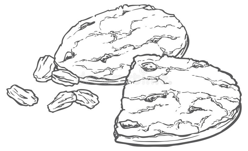 Owsów ciastka z rodzynkami royalty ilustracja