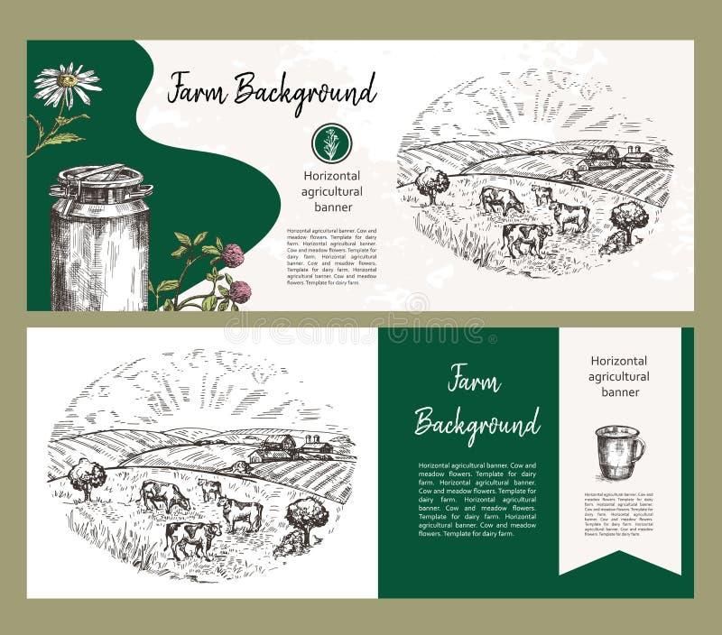 Ows pasa na paśniku Rolnicza ilustracja w stylu nakreślenia Set horyzontalni rolniczy sztandary ilustracji