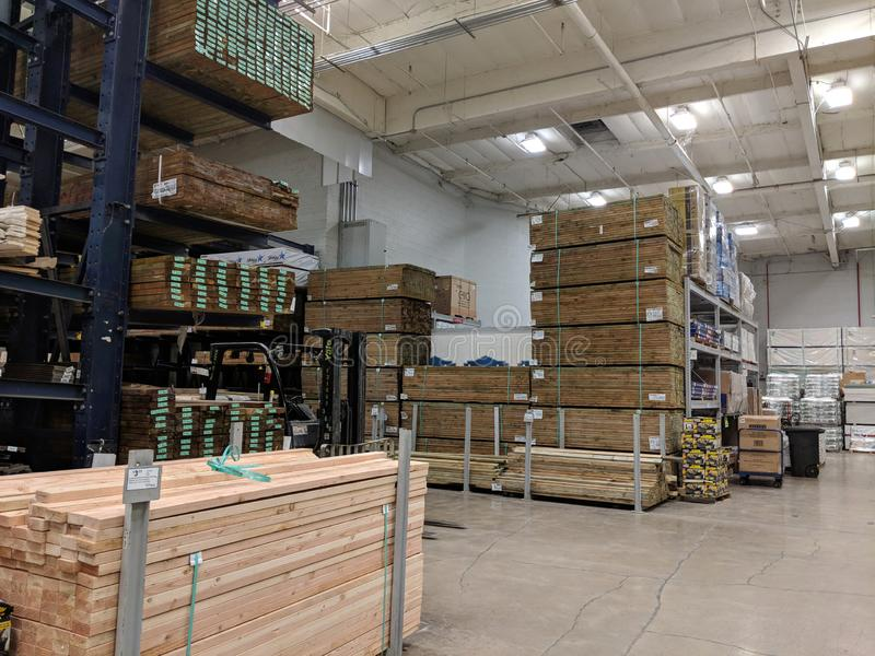 Ows of Wood Lumber For Sale Inside Lowe& x27;s Home Improvement store. Honolulu - June 18, 2018: Rows of Wood Lumber For Sale Inside Lowe& x27;s Home Improvement stock images