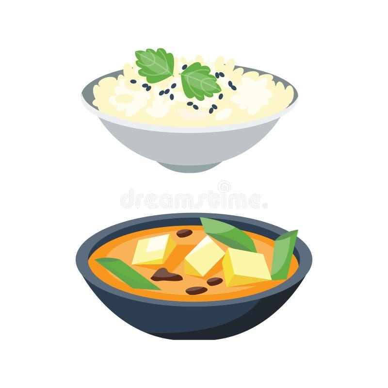 Owsianka talerz w pucharze odizolowywającym na białego tła wyśmienicie i jarskim śniadaniowym zdrowym karmowym gorącym groats gar ilustracja wektor