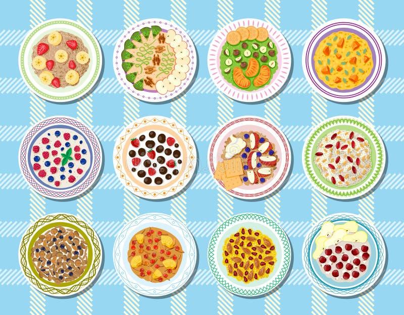 Owsianki wektorowy zdrowy jedzenie dla śniadania i oatmeal z jagodami w pucharze dla jarski diety ilustracyjnego ustawiającego royalty ilustracja