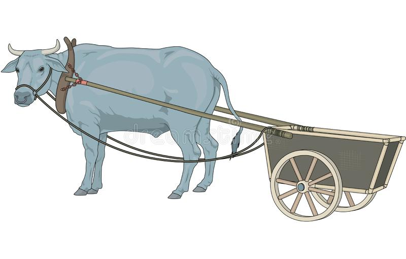 Ox and Cart Illustration stock illustration