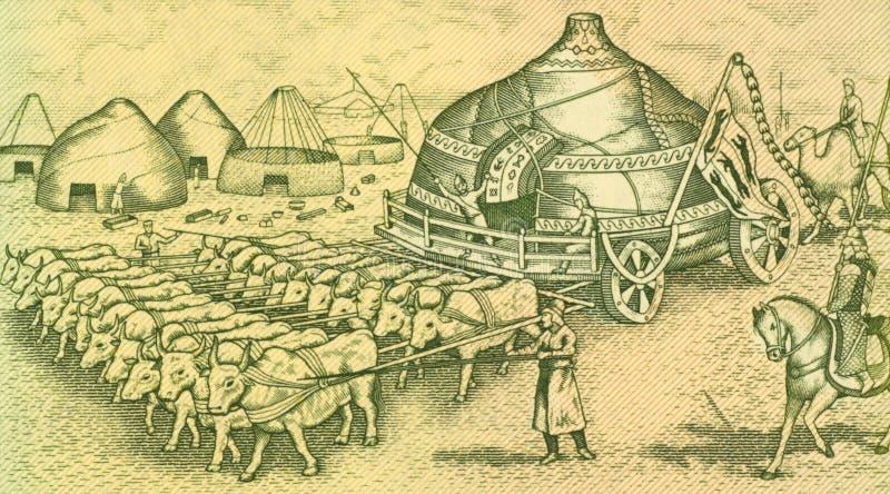 Download Ox Drawn Yurte stock image. Image of asian, animal, papermoney - 17524679