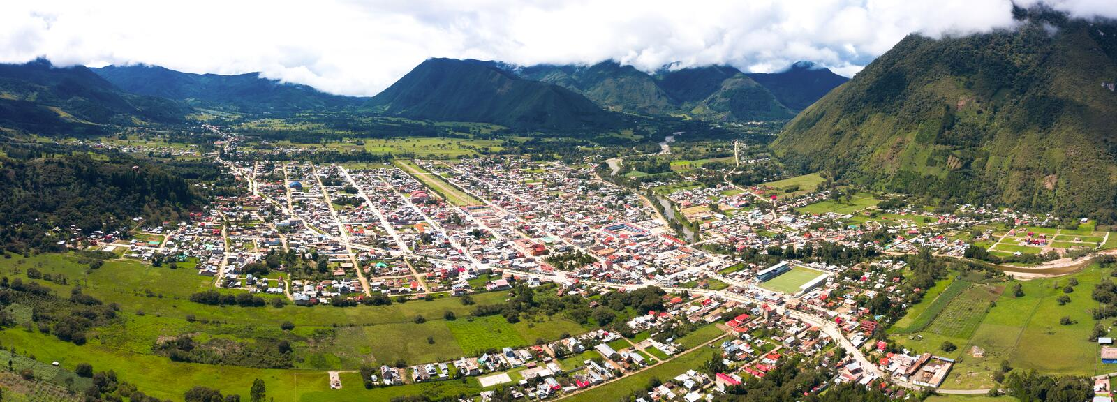 Aerial view of Oxapampa city in Peru royalty free stock photos