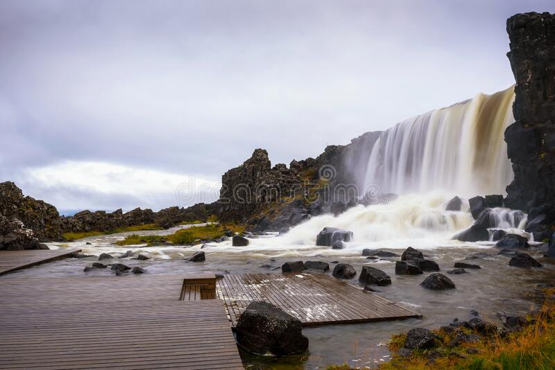 Oxarafoss waterfall in Iceland royalty free stock photography