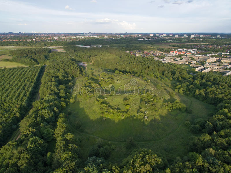 Oxbjerget,丹麦鸟瞰图  库存照片