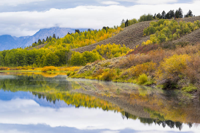 Oxbow Bend Autumn Colors stock photo