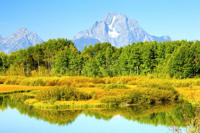 Oxbow Bend Sunrise Autumn Colors, Grand Teton National Park, Wyo stock image