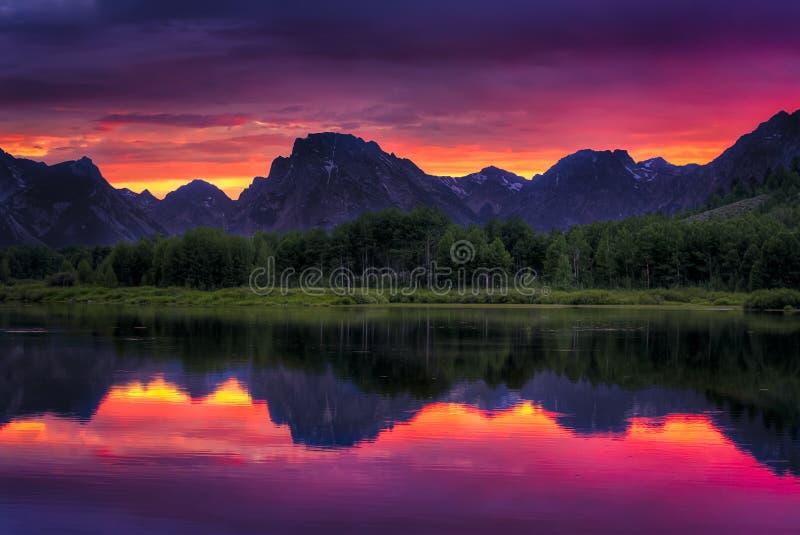 Oxbow Bend Sunset stock photo