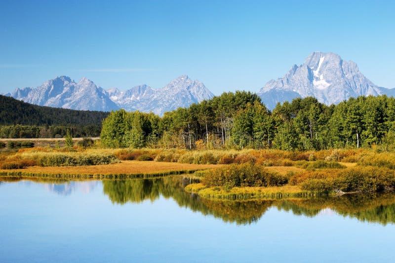 Oxbow krökningsoluppgång Autumn Colors, storslagen Teton nationalpark, Wyo arkivbild