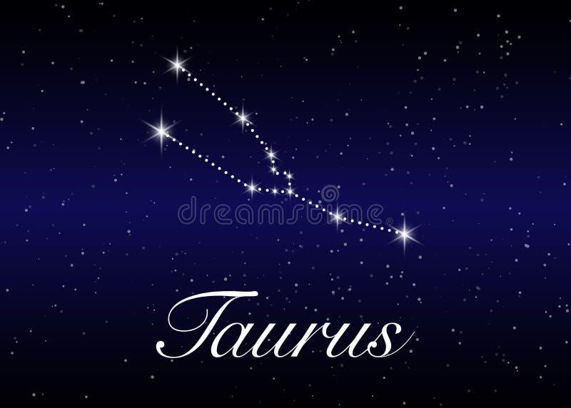 Oxenzodiakkonstellationer undertecknar på härlig stjärnklar himmel med galaxen och gör mellanslag bakom Konstellation för Oxenhor stock illustrationer