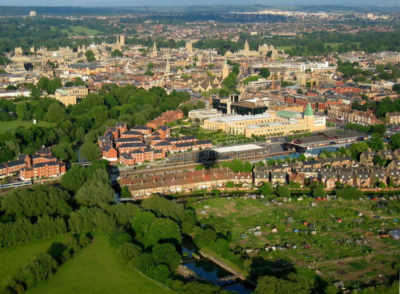 Oxford from the air. Arial view of Oxford, UK, from a hot air balloon