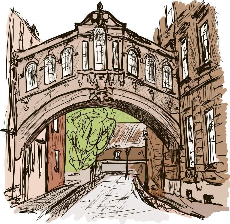 Oxford. Arch bridge in the Oxford vector illustration