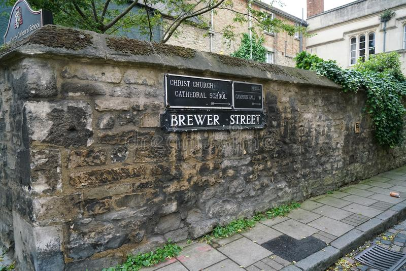 Oxford Brewer Street. OXFORD, ENGLAND - May 27, 2017: Brewer Street runs east-west, connecting with St Aldate`s to the east and St Ebbe`s Street to the west stock photo