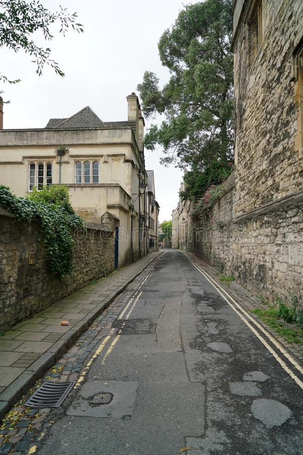 Oxford Brewer Street. OXFORD, ENGLAND - May 27, 2017: Brewer Street runs east-west, connecting with St Aldate`s to the east and St Ebbe`s Street to the west royalty free stock photos