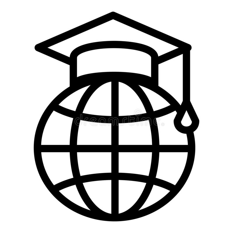 Oxford cap on the globe icon, outline style. Oxford cap on the globe icon. Outline oxford cap on the globe vector icon for web design isolated on white royalty free illustration