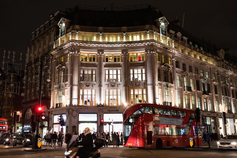 Oxford Circus at night in late October royalty free stock photo