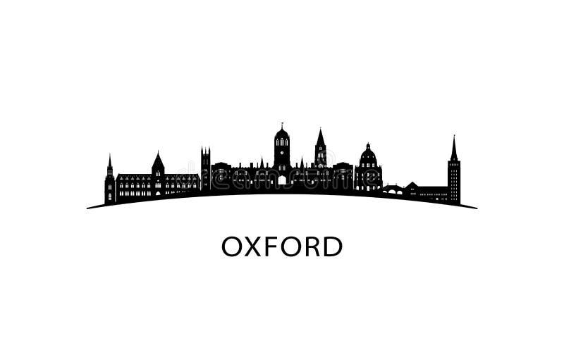 Oxford city skyline. Black cityscape isolated on white background. Vector banner vector illustration