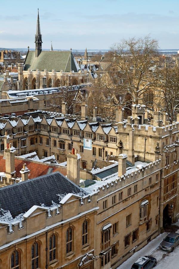 Oxford in der Winterzeit stockfotografie