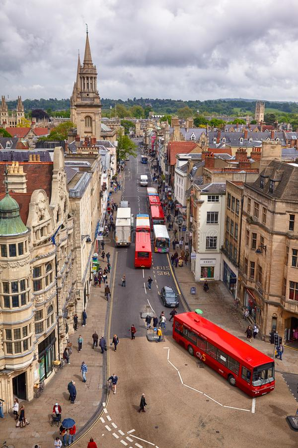 View from the top of Carfax Tower to the center of the Oxford city. Oxford University. England stock images