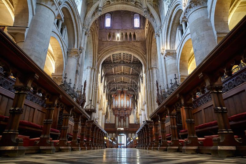The interior of Christ Church Cathedral. Oxford University. England royalty free stock images