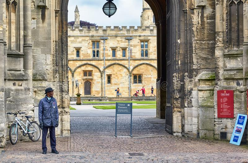 Tom Gate, the view from the St Aldates street. Oxford University. England royalty free stock photography