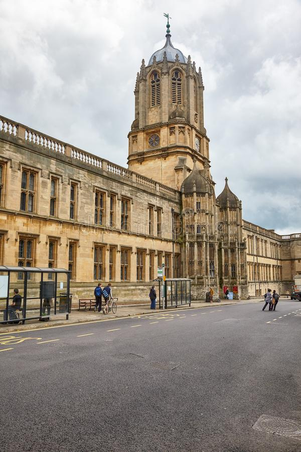 Tom Tower and Tom Quad on the St. Aldate's street. Oxford University. England stock image