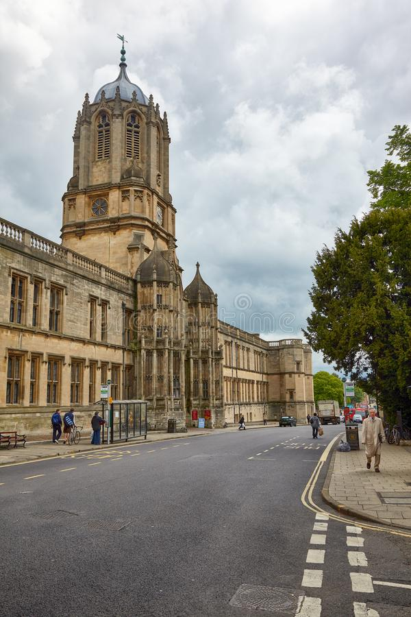 Tom Tower and Tom Quad on the St. Aldate's street. Oxford University. England royalty free stock images