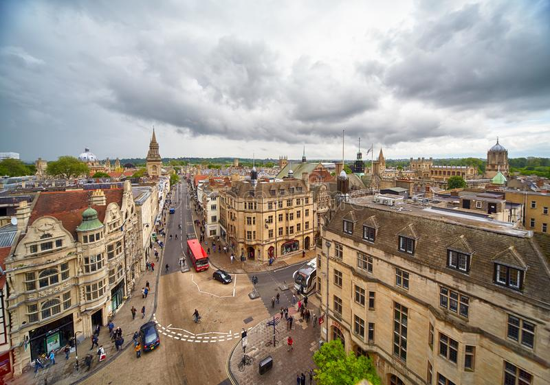 View from the top of Carfax Tower to the center of the Oxford city. Oxford University. England stock image