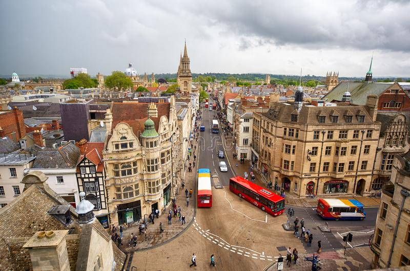 View from the top of Carfax Tower to the center of the Oxford city. Oxford University. England royalty free stock photography