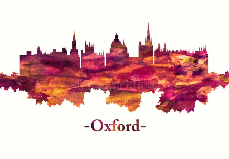 Oxford England skyline in red. Red skyline of Oxford, a city in central southern England, revolves around its prestigious university, established in the 12th vector illustration