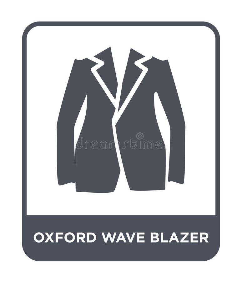 oxford macha blezer ikonę w modnym projekta stylu oxford macha blezer ikonę odizolowywającą na białym tle oxford fali blezeru wek royalty ilustracja