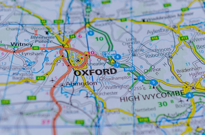 Oxford on map. Close up shot of Oxford on map, a city in central southern England, revolves around its prestigious university, established in the 12th century stock photos