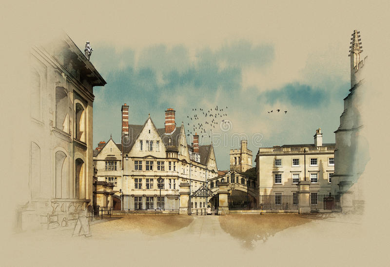 Oxford, Reino Unido, gráficos do vintage no papel velho, esboço da aquarela ilustração stock