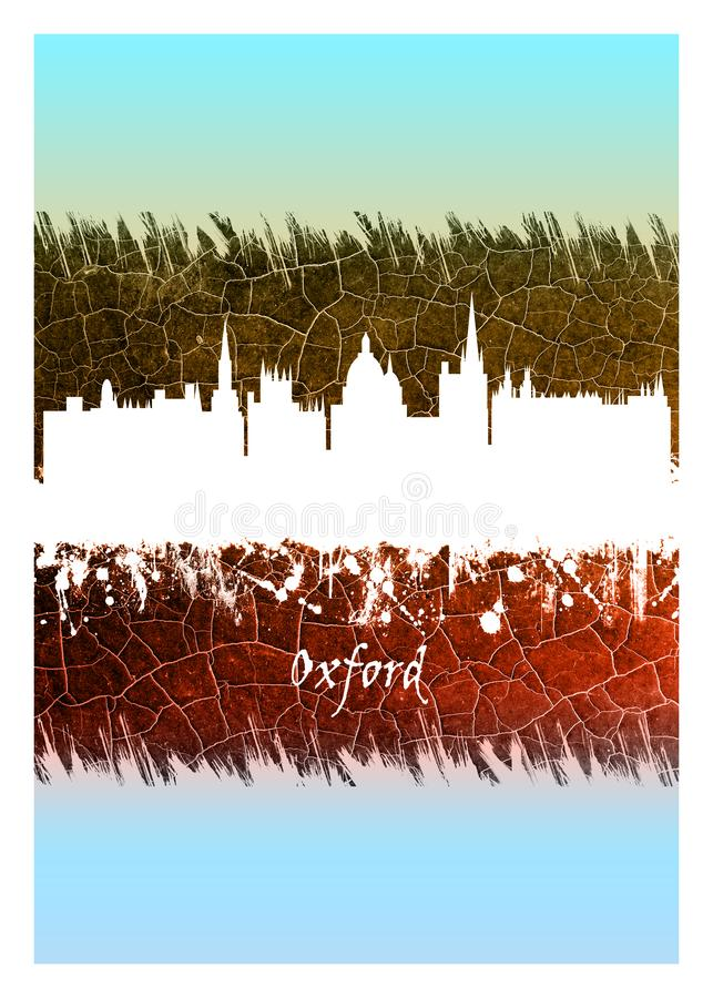 Oxford skyline Blue and White. Blue and White skyline of Oxford, a city in central southern England, revolves around its prestigious university, established in royalty free illustration