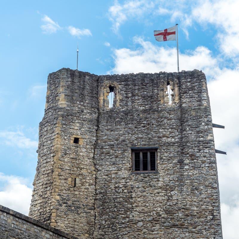 Oxford slott och flagga royaltyfria foton