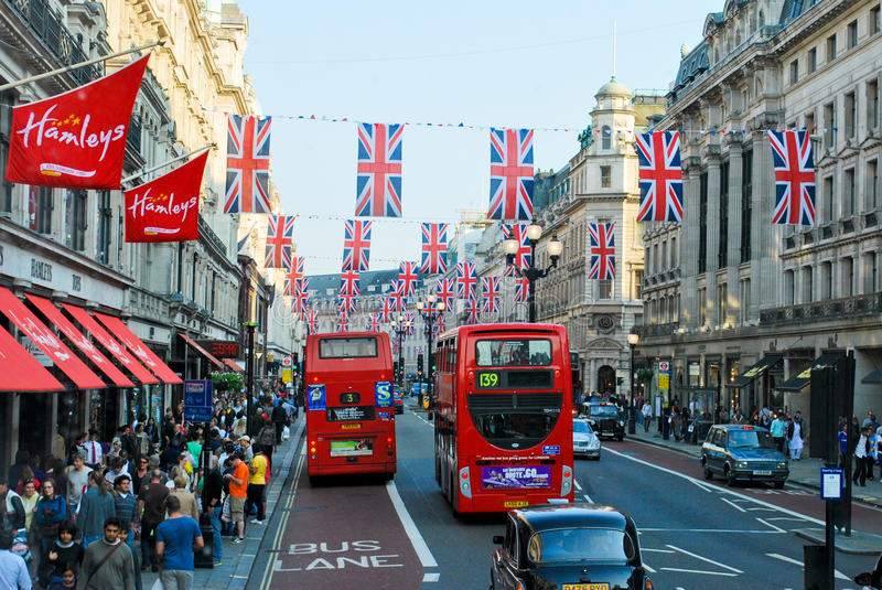 Oxford Street, London. LONDON - APRIL 29: London hangs up buntings for Prince William and Catherine Middleton's royal wedding celebration to take place April 29